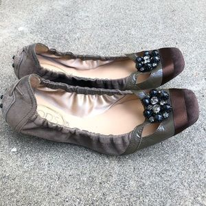 Tod's Shoes - TOD'S Brown Taupe Beaded Ballet Flats Sz38 1/2 / 8